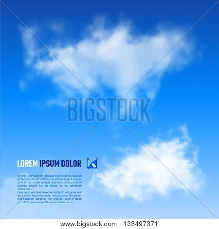 Fluffy white clouds on the sky blue background. Down text