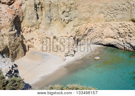 Tsigrado beach on the south coast of Melos island with no people.