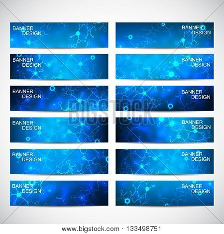 Abstract geometric banners molecule and communication. Science and technology design, structure DNA, chemistry, medical background, business and website templates. Vector illustration,