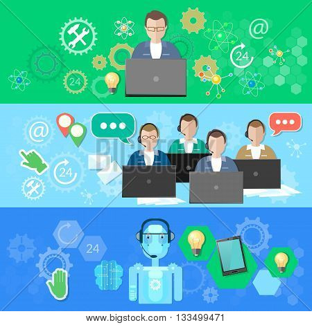 Technical support call center and call service robotic support feedback vector banner