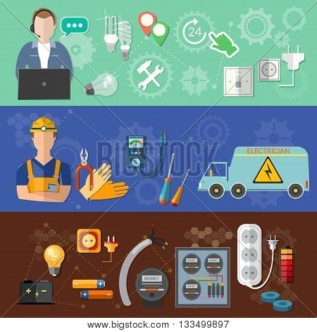 Electricity banners: call a professional electrician repairs and installation of electricity meters vector illustration