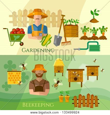 Farmers banners gardening and beekeeping banner seedling cultivation vector illustration