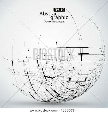 Points curves surfaces formed wireframe sphere, science and technology, abstract illustration.