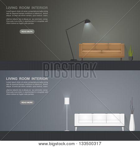 Living room banners for web design. Living room interior . Vector illustration