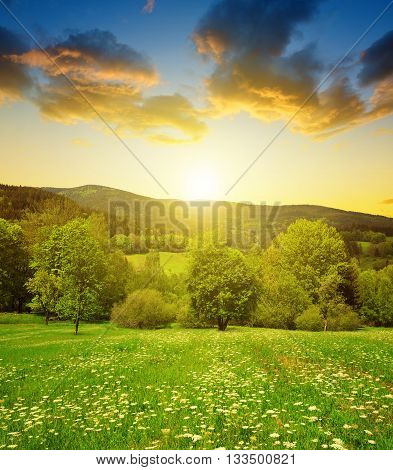 Spring mountain landscape in National park Sumava at sunset - Czech Republic