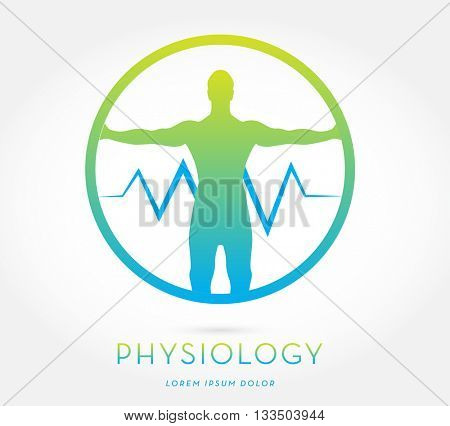 MAN'S SILHOUETTE WITH OPEN ARMS , INCORPORATED WITH A HEARTBEAT , INSIDE A CIRCLE, VECTOR ICON / LOGO , BLUE GREEN AND LIME COLORS , ON WHITE BACKGROUND