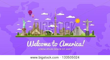 Welcome to America travel background. America travel landmark and famous travel place. World traveling concept flat vector illustration. Famous America buildings. American architecture in a cartoon style. America. World travel background. Travel banners.