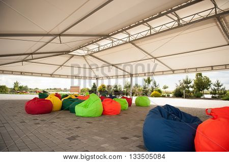 Many Colorful Soft Beanbag Seats