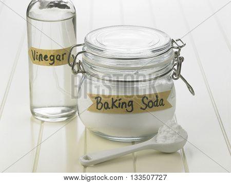 baking soda and bottle of the vinegar