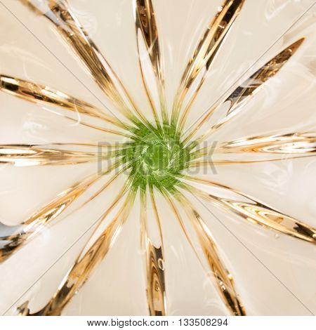 Luxury vase of Bohemian glass. Green and brown.