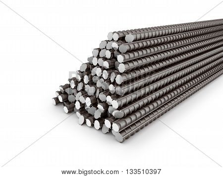 The bars of reinforcement. A set of reinforced steel. 3D illustration poster