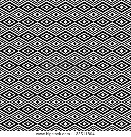 abstract seamless pattern rhombus in black and white