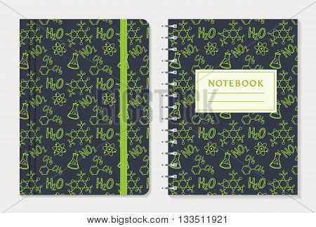 Notebook cover design. Set of notepad with elastic band and spiral notebook with chemical pattern. School and science themes. Vector collection.