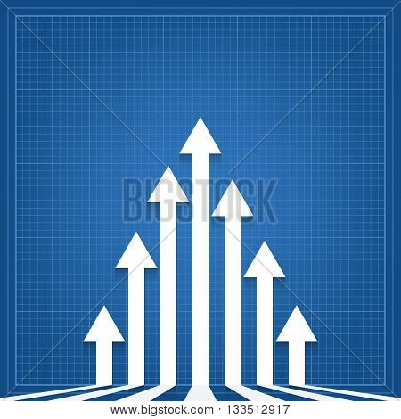 graph arrows blueprint background. vector illustration - eps 10
