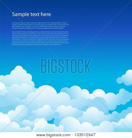 Blue sky with clouds. Vector background. Beautiful sky.