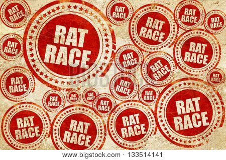 rat race, red stamp on a grunge paper texture