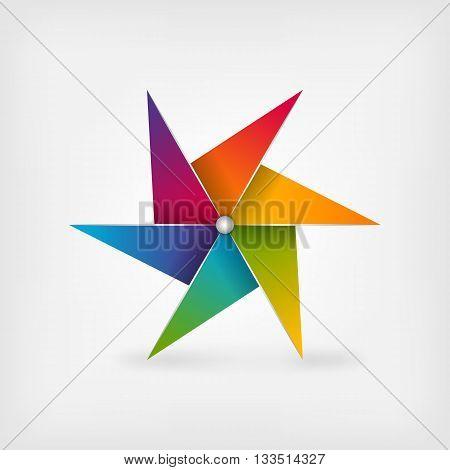 rainbow pinwheel symbol. vector illustration - eps 10