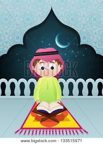 Cute Little Islamic Boy reading Holy Book