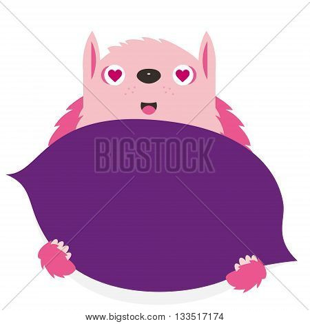 Illustrated purple monster, vector illustration, poster, banner, sign