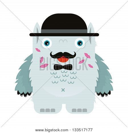 illustrated monster, vector illustration, kiss, lover, character, Yety, bugaboo