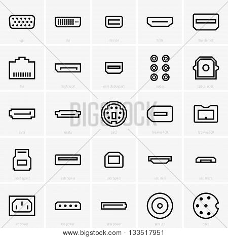 Set of interface icons on grey background