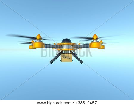 Yellow and gray hexacopter. Shipping to home. Flying courier. 3d illustration poster