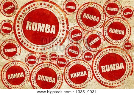 rumba dance, red stamp on a grunge paper texture