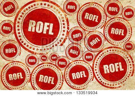 rofl internet slang, red stamp on a grunge paper texture