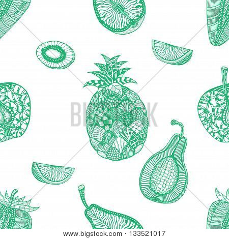 Green pattern backgroud of fruit. Plant. Exotic fruit. Line art. Hand drawn. Doodle vector illustration.