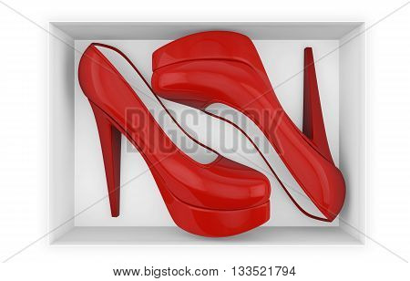 New red high heel shoes in box isolated with clipping path on white