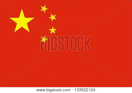 vector illustration of People's Republic of China (PRC) flag, isolated background