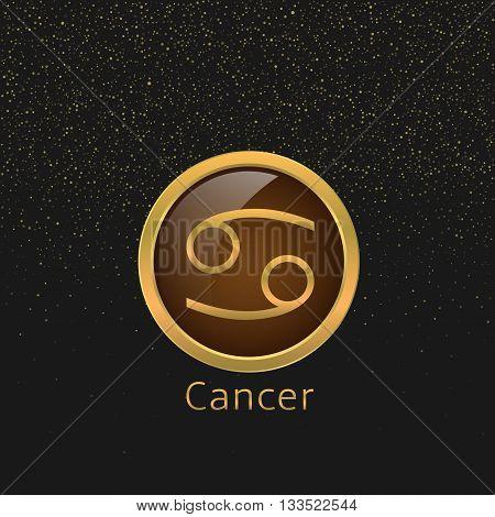 Cancer Zodiac sign. Cancer abstract symbol. Cancer golden icon