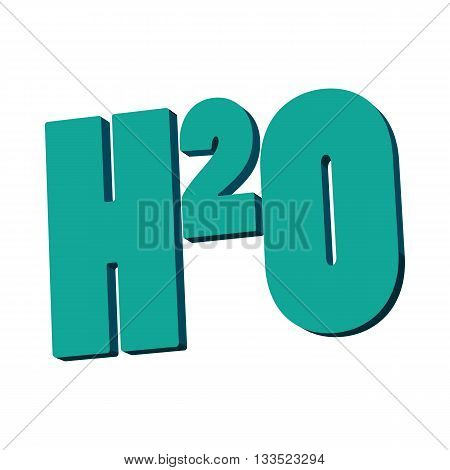 H20 water formula icon in cartoon style on a white background