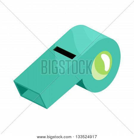 Turquoise sport whistle icon in cartoon style on a white background