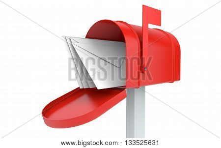 Incoming mail. mailbox with letters isolated on white with clipping path