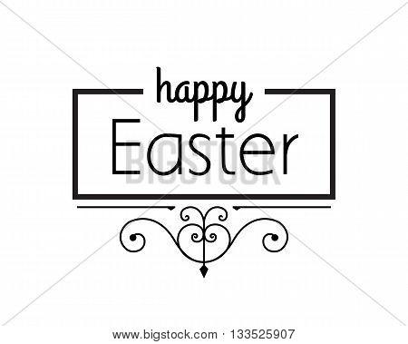 Happy Easter black ornament lettering, vector design.