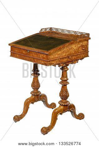 Old vintage wooden carved writing desk European
