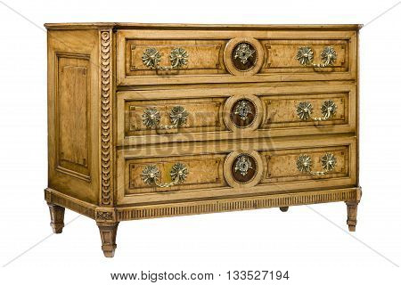 Old vintage bureau dresser chest of drawers isolated on white with clipping path