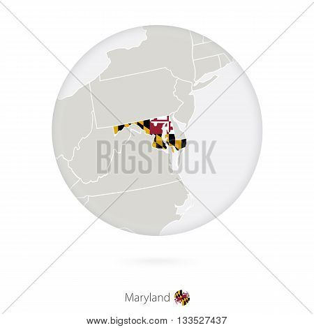 Map Of Maryland State And Flag In A Circle.