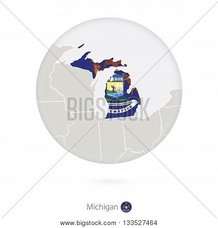Map Of Michigan State And Flag In A Circle.