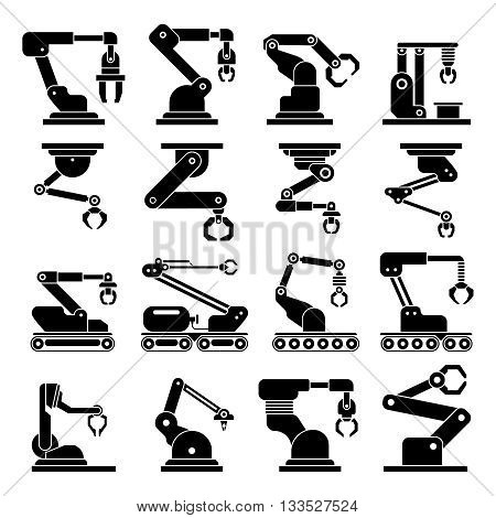 Industrial mechanical robot arm vector icons. Automotive system robotic industrial. Tool industrial automatic mechanical illustration