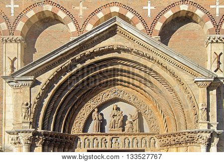 detail of facade Saint Lawrence Church in Vicenza