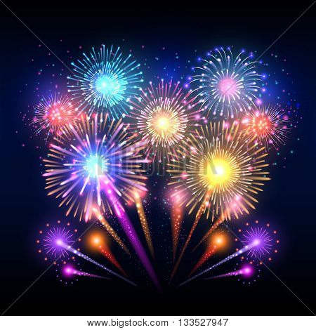 Festive vector background, poster with firework rockets bursting. Sparkling effect firework and pyrotechnic realistic firework explode illustration