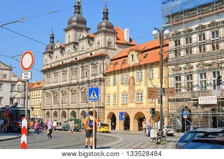 Prague Czech - 03 July 2015: Lesser Town Square - central place of Prague Lesser Town