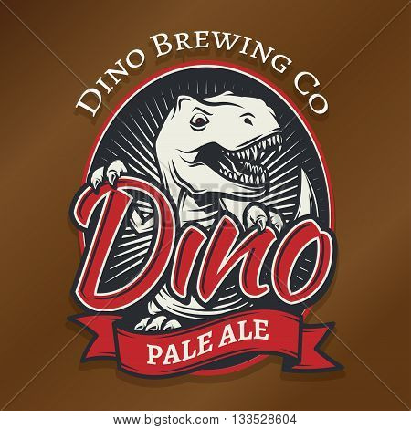 Vector dino craft beer logo concept. T-rex bar insignia design. Pale ale label template. Vintage Jurassic period illustration. Tyrannosaurus T-shirt badge