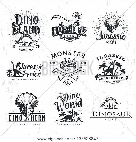 Big Dinosaur Vector Logo Set. Triceratops t-shirt illustration concept. Raptors security insignia design template. Vintage Jurassic Period labels. Theme park badge