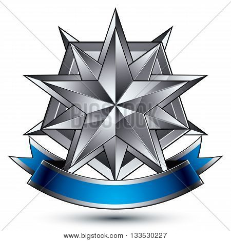 3D Vector Classic Protection Symbol, Sophisticated Silver Emblem With Complicated Star Isolated On W