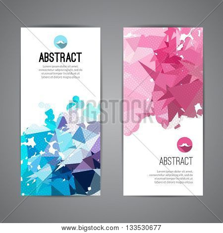 Set of polygonal triangular colorful background banners poster booklet with swirls for modern design, youth graphic concept.