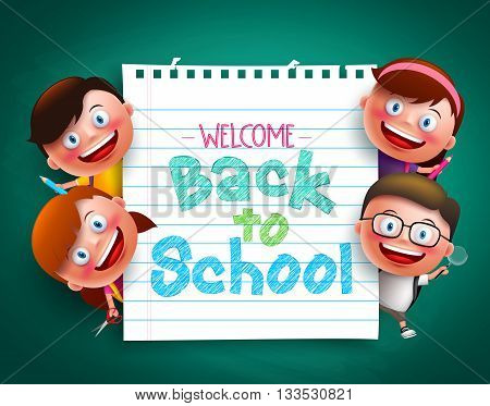 Back to school colorful  text written in paper with funny kids vector characters holding school items. Vector illustration