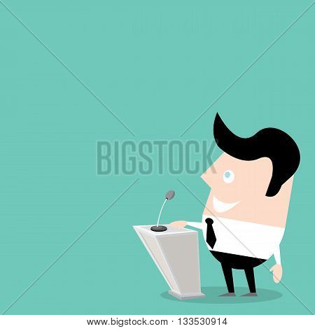 Speaker icon. Orator speaking from tribune illustration. Cartoon style design - vector.